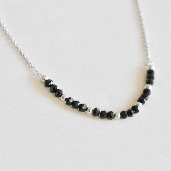 5ce9c21907b Black Spinel Necklace with Sterling Silver, Dainty Spinel Beaded ...