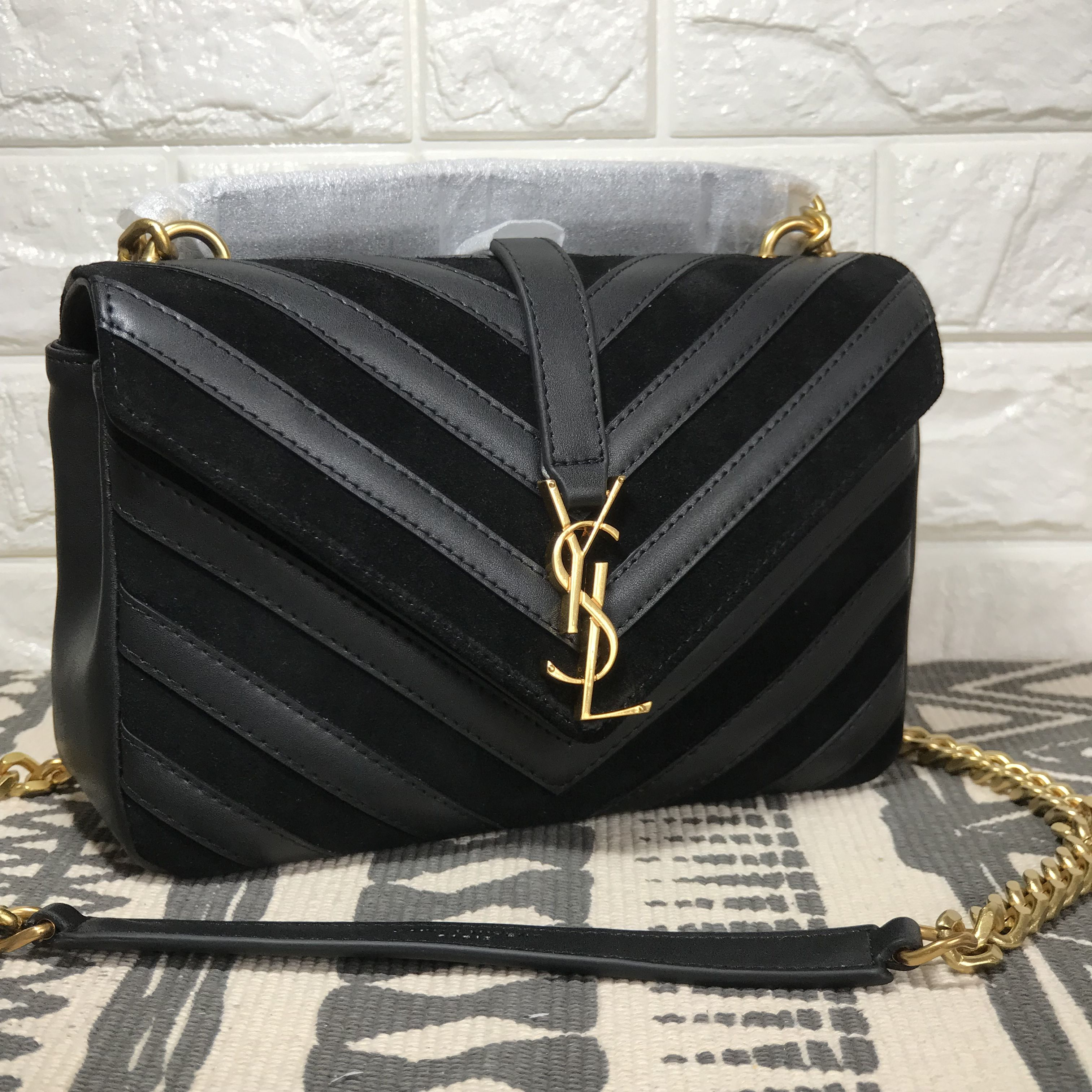 Ysl Bag Laurent Woman Suede Saint Pattern Leather V College kw0PnO