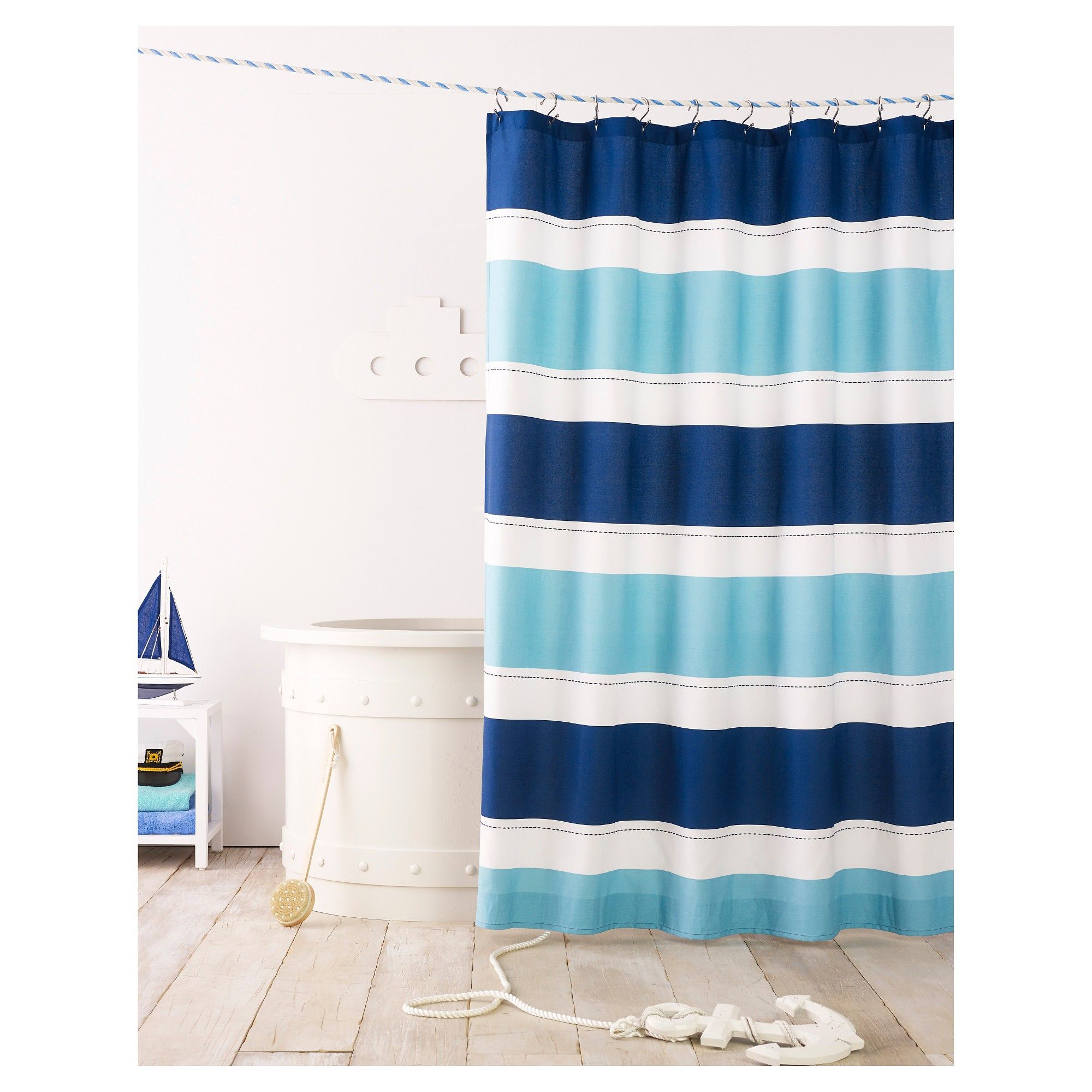 Cool Rugby Stripe Shower Curtain Blue Lake Pillowfort Striped