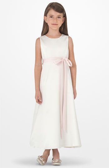 Sleeveless Satin Dress | First communion, Flower girls and First ...