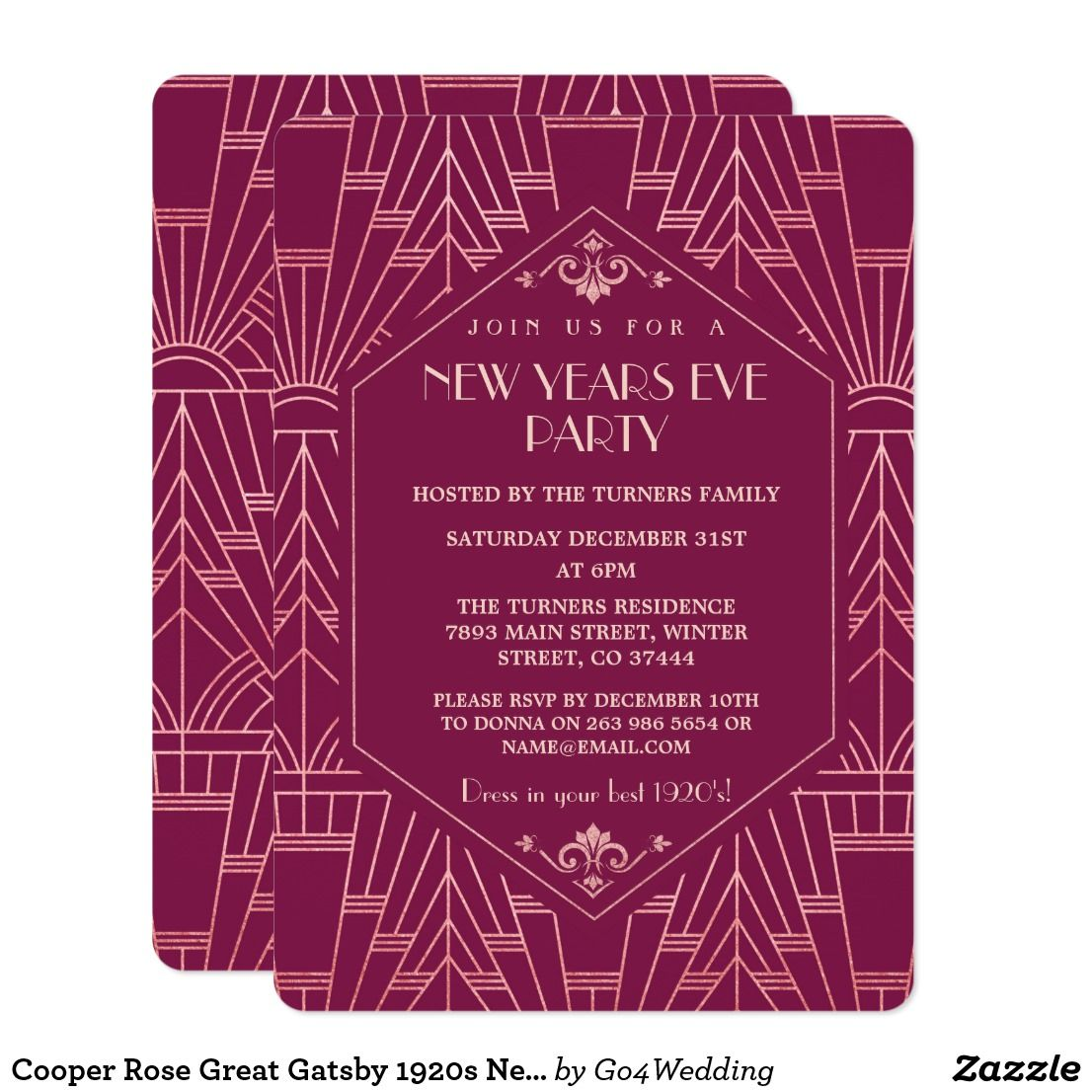 Cooper Rose Great Gatsby 1920s New Year Party Invitation