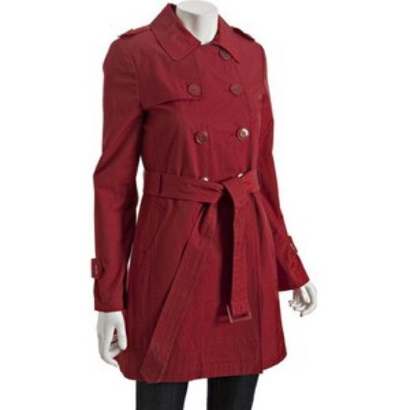 DKNY Red Cotton-Poly Classic Trenchcoat Only worn once! Mid-weight cotton-poly blend; spread collar with double-breathed placket; dual side pockets; fully lined. DKNY Jackets & Coats Trench Coats
