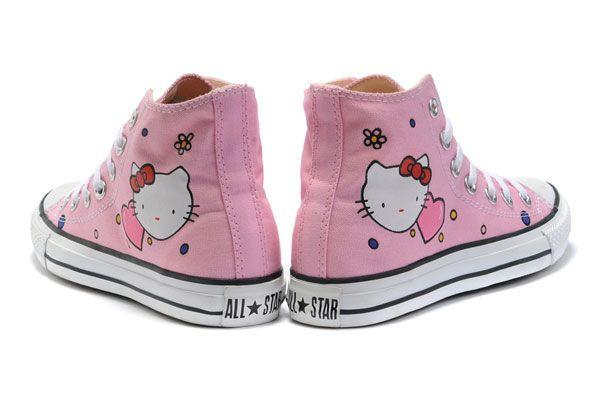 f375e92fc69913 Hello Kitty Converse All Star High Tops Pink Canvas Shoes