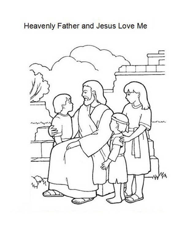 Heavenly Father and Jesus Love Me Coloring Page Color