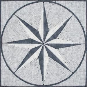 Black White Star Medallion 24 in x 24 in Tumbled Marble Floor