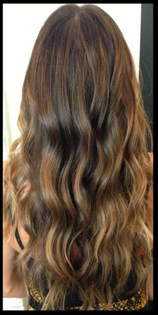 Fall hair color trends~ brunette with caramel balayaged highlights