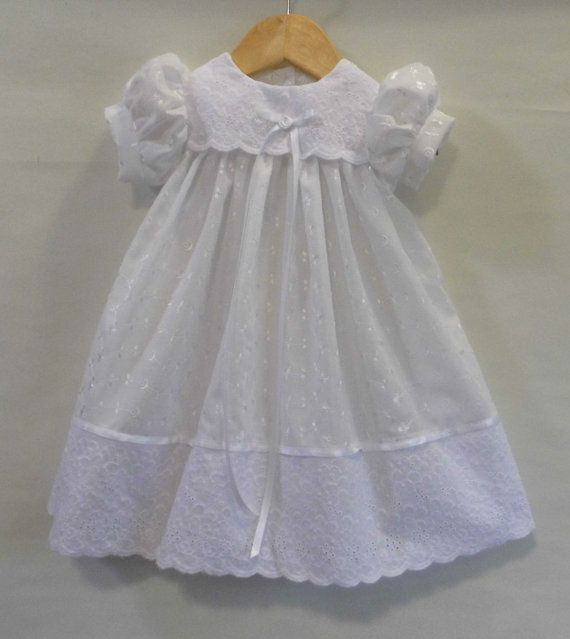 White eyelet lace, lined infant Christening gown, Baptism gown ...