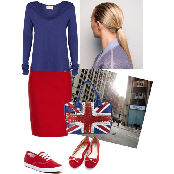 Blue & Red Natural look by solan79 on Polyvore featuring moda, American Vintage, Keds and Oasis