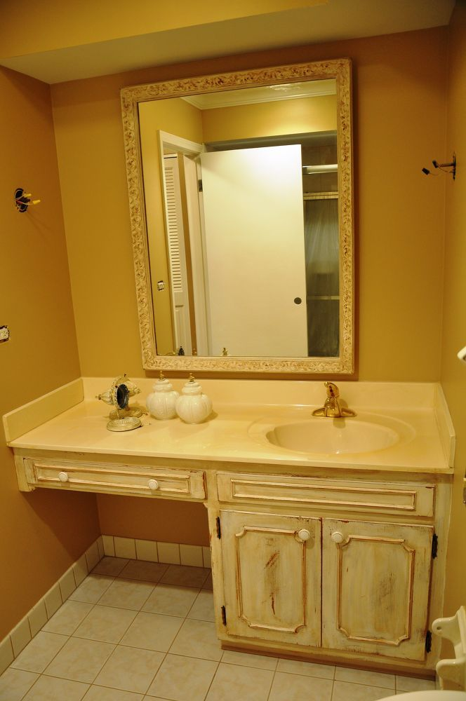Updating 60's Bathroom Vanity | Oak bathroom vanity ...