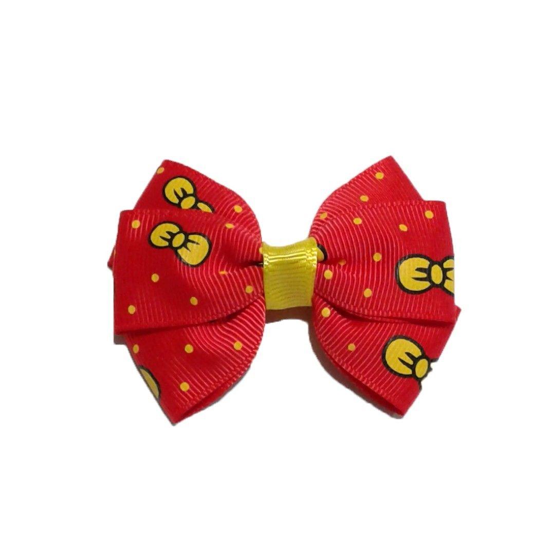 Hair Clip Handmade Korean Style Red Cartoon Print Hair Bow Clip Ponytail Elastic Headband Babies Kids Girl S Ap Bow Hair Clips Bow Clips Cartoon Print