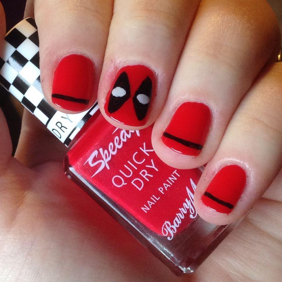 nnmnails on Instagram: marvel deadpool nail art red black   Nail Art ...
