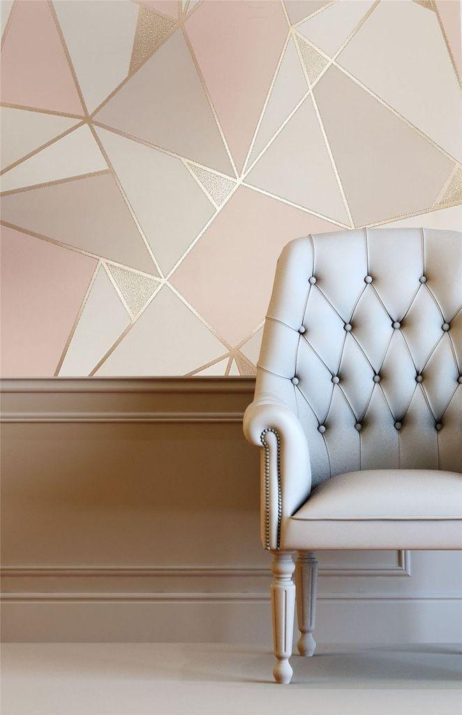Trance Geometric Rose Gold Blush Pink Inspiration Fur Tapeten Pink Blus Blus Blush Pink Wallpaper Bedroom Bedroom Wall Designs Bedroom Wall Paint