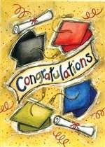 """""""Congratulations"""" Decorative House and Garden flags at Flag Fables Home."""