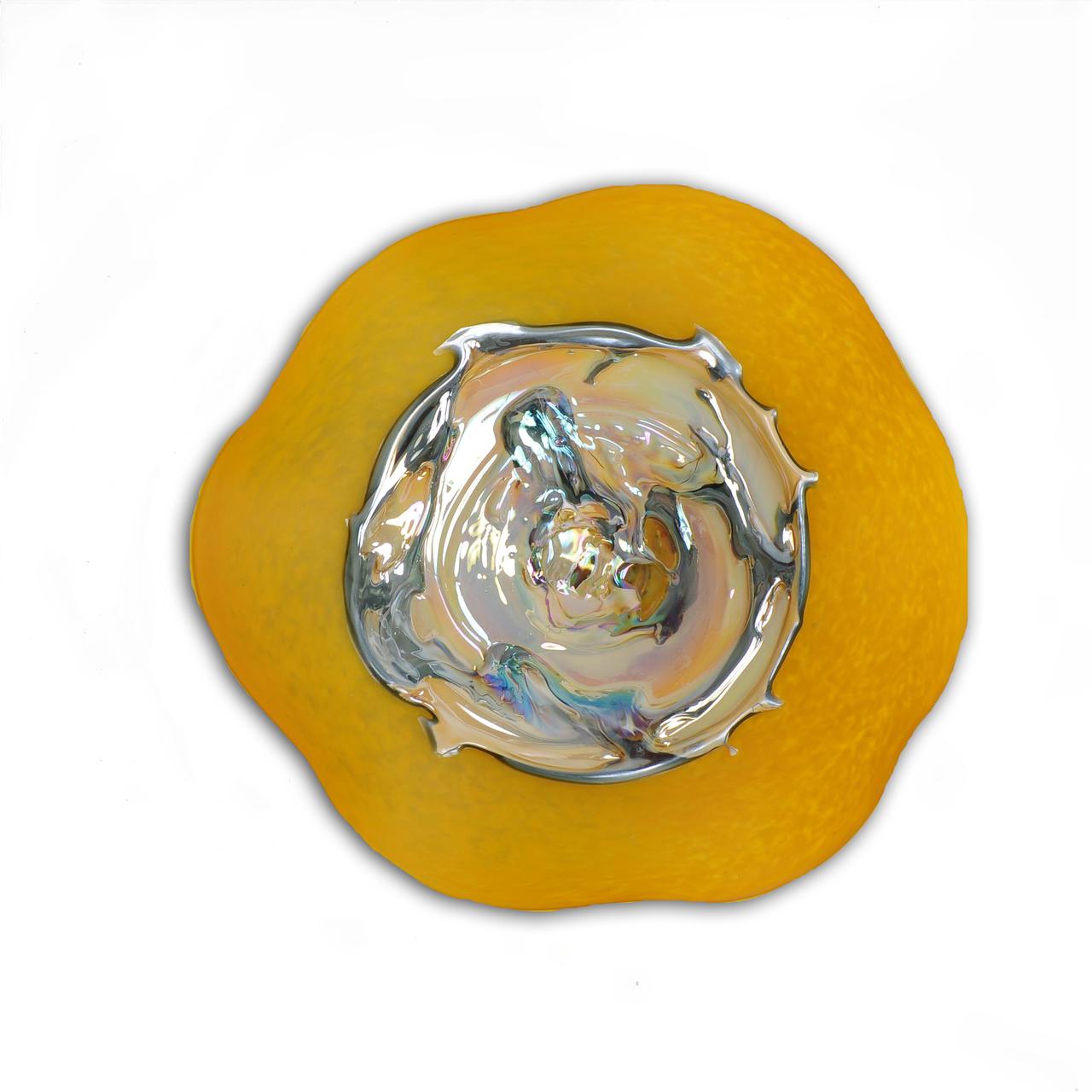 Saffron Glow Grande - Art Glass Wall Plate | Glass and Walls