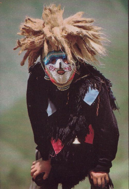 Ukuku mask of sheep and alpaca wool worn by young men in coming-of-age ceremonyNational Geographic May 1988 Museum of Anthropology Lima Peru