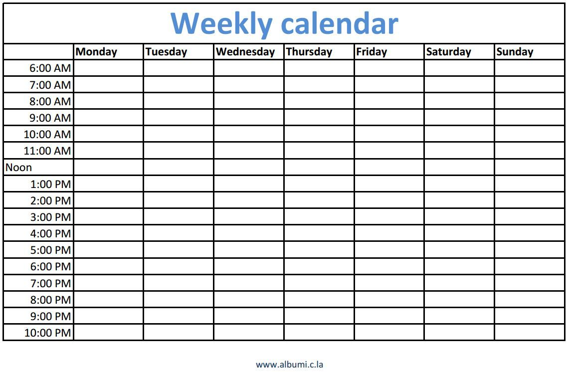 Weekly Calendars With Times Printable Weekly Calendar Printable Weekly Calendar Template Printable Blank Calendar Weekly calendar template with times