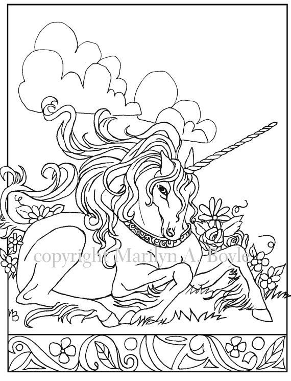 DIGITAL DOWNLOAD UNICORN,adult coloring page, fantasy