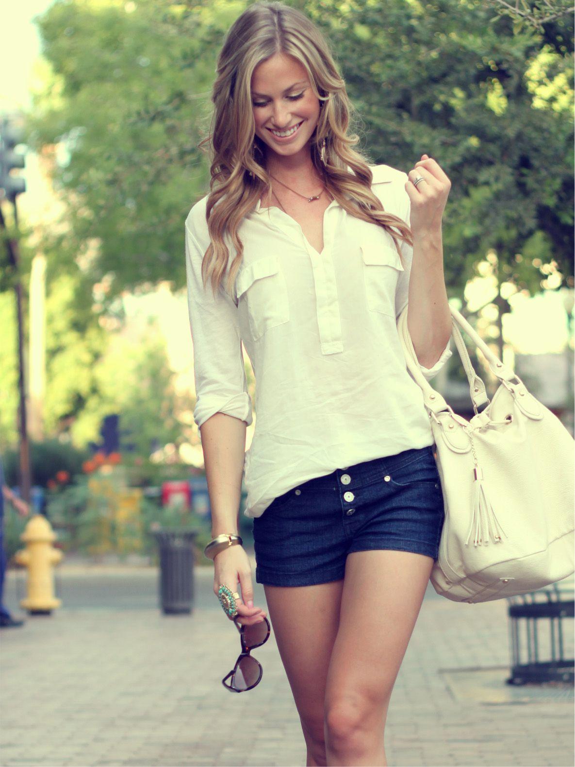 2da251d166e8 Perfect summer outfit jean shorts white breezy shirt