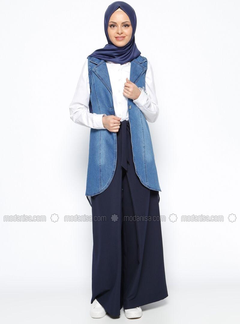 Blue - Unlined - Shawl Collar - Denim - Vest - Beha Tesettür