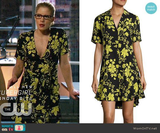 8343314a1a5 Felicity s black and yellow floral dress on Arrow. Outfit Details  https