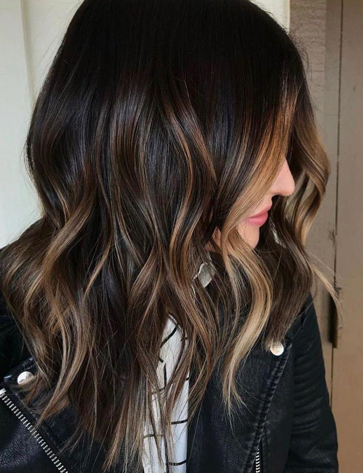 Dark brunette base with subtle caramel ribbon bayalage ombré #ombrehairtrends – Modern
