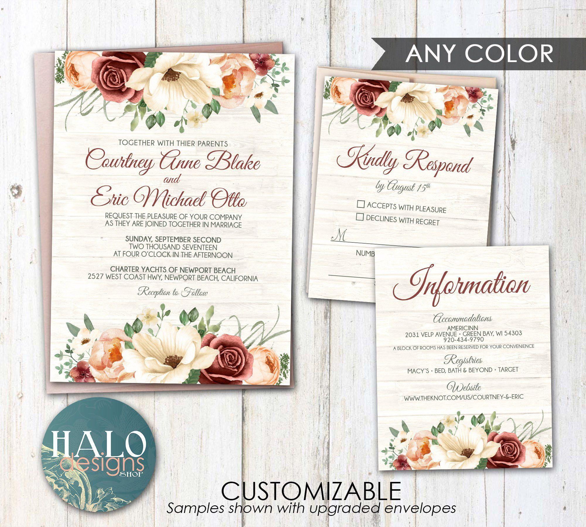Burgundy Floral Wedding Invitation Fall Wedding Invitation Etsy Floral Wedding Invitations Fall Wedding Invitations Wedding Invitations Romantic