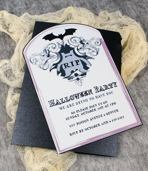 Halloween Invitation Template With Bat Tombstone From