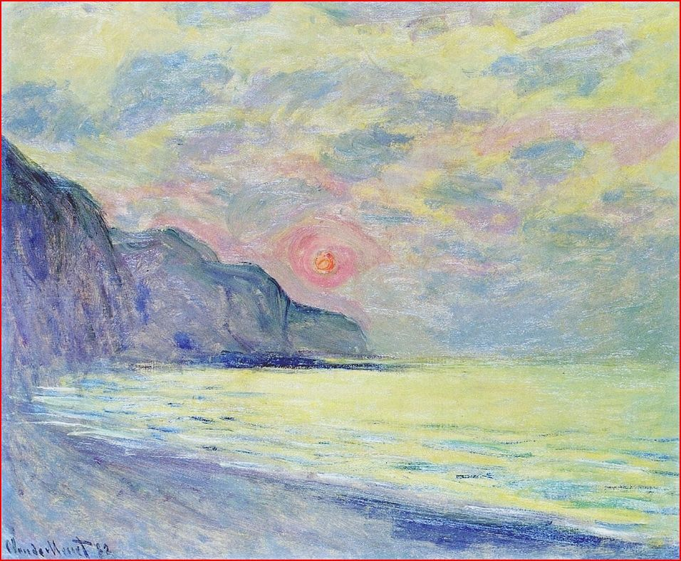 1882 Claude Monet Pourville At Sunset Misty Weather Private Collection 60 X 73 Cm Malerei Impressionismus Kunst Und Architektur