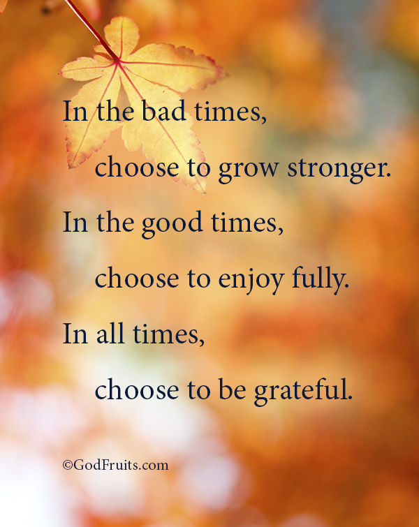 In The Bad Times Choose To Grow Stronger In The Good Times Choose To Enjoy Full In All Times Choose To Be G Thankful Quotes Grateful Quotes All About Time