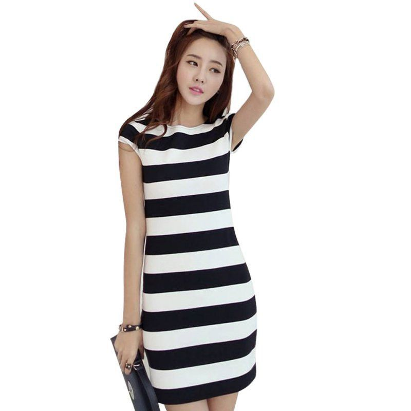 Women Elegant Summer Dress Short Sleeve Bowknot Backless Dresses Bodycon Slim Fit Striped Vestidos Y6