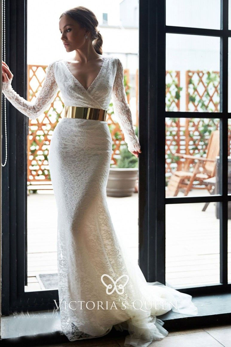 Ivory Lace With Tulle Mermaid Long Sleeve Wedding Dress Wedding Dresses Long Sleeve Mermaid Wedding Dress Wedding Dress Long Sleeve [ 1160 x 773 Pixel ]