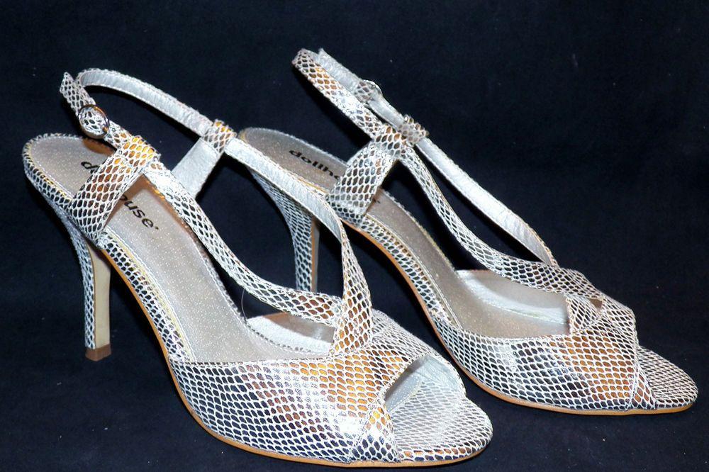 Dollhouse Segina Strappy Stiletto Heel Pump Silver Faux Snakeskin Sandal US 10 #Dollhouse #Strappy