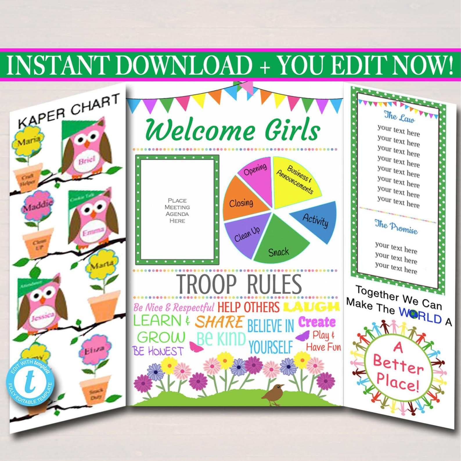 Multi Level Troop Kaper Chart Amp Meeting Board Instant