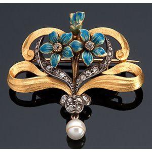 Spilla oro 18K, XIX secolo motivo a volute ...