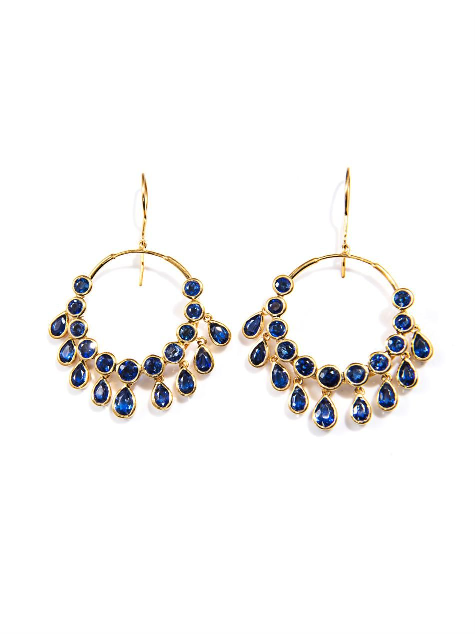 Kyanite & gold-plated gypsy earrings | Jade Jagger | MATCHESFA...