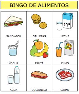 juego de bingo de pirámide alimenticia de diabetes