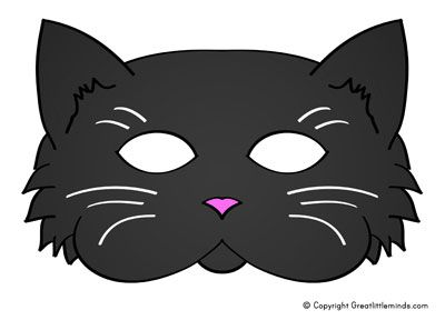 cat mask black printable to send to sponsored kids pinterest