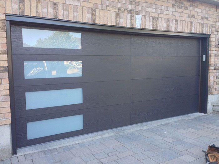 Modern-Woodgrain-Garage-Door-with-Door-Lites-installed- & Modern-Woodgrain-Garage-Door-with-Door-Lites-installed-in-Barrie ... pezcame.com