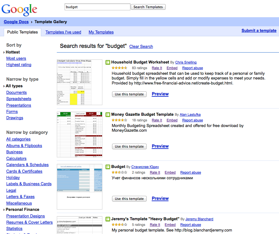 Google Drive offers several different templates to assist