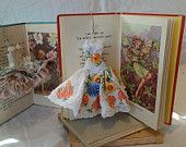 Art dress and vintage illustrated fairy flowers book