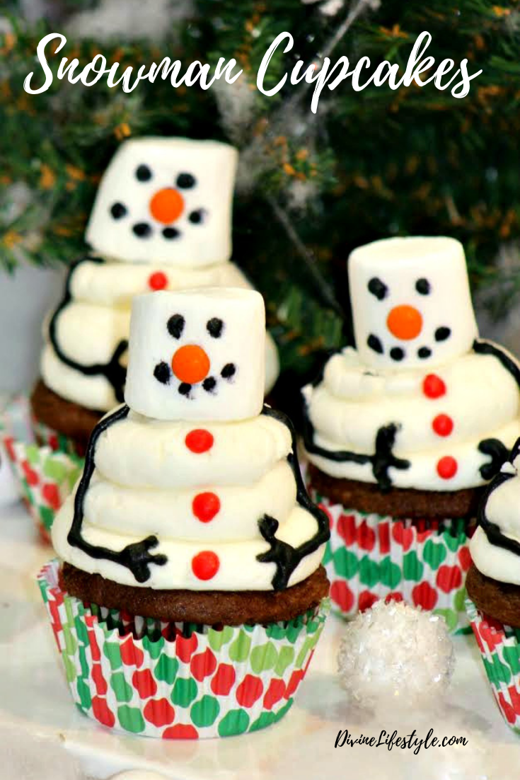 Snowman Cupcakes Recipe - these melting snowman are so adorable!// DivineLifestyle.com //#meltingsnowman #cupcakes #christmascupcakes #winterwonderlandcupcakes #wintercupcakes #christmasdesserts#christmascupcakes #partyfood #snowmancupcake #snowflake #christmasideas #funfood #kidspartyfood #christmastreats#ediblegift #christmascupcakes #holidaybaking #holidayfood #christmasbaking #holidayentertaining#snowman #snowmen #cutefood #Christmas #Christmasfood #Christmastreats #christmasrecipes