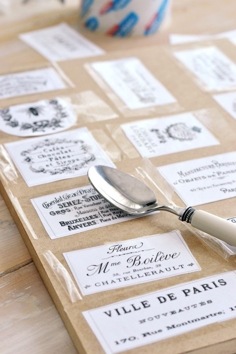 DIY Clear French Labels Project + free printable Diy
