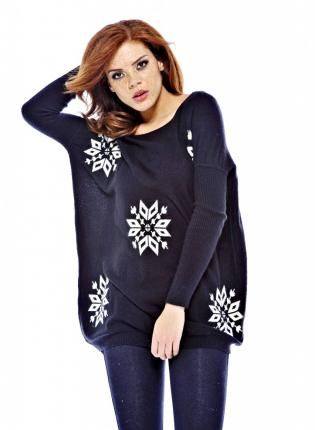 Black Long Sleeve Snowflake Knit Sweater,  Sweater, snowflake sweater  knit  long sleeve, Casual