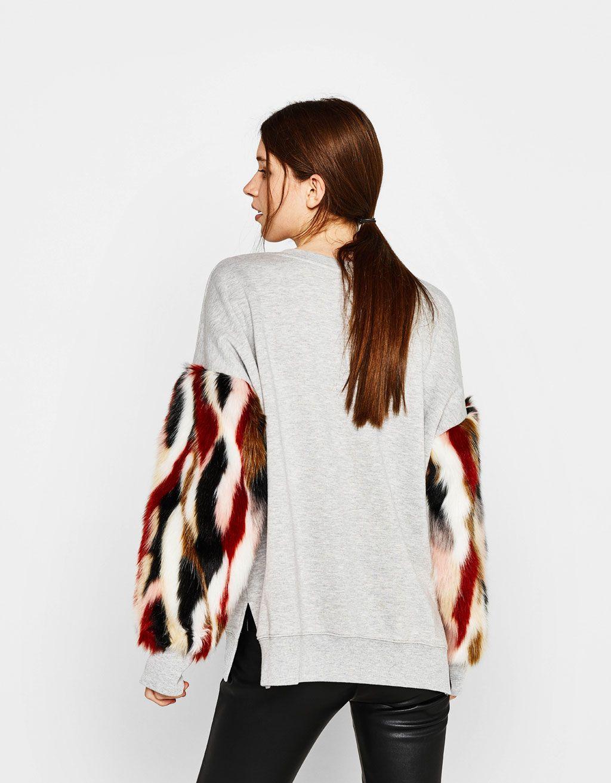 7ddaf36d53ca Sweatshirt with faux fur sleeves - Sweatshirts   Hoodies - Bershka United  States