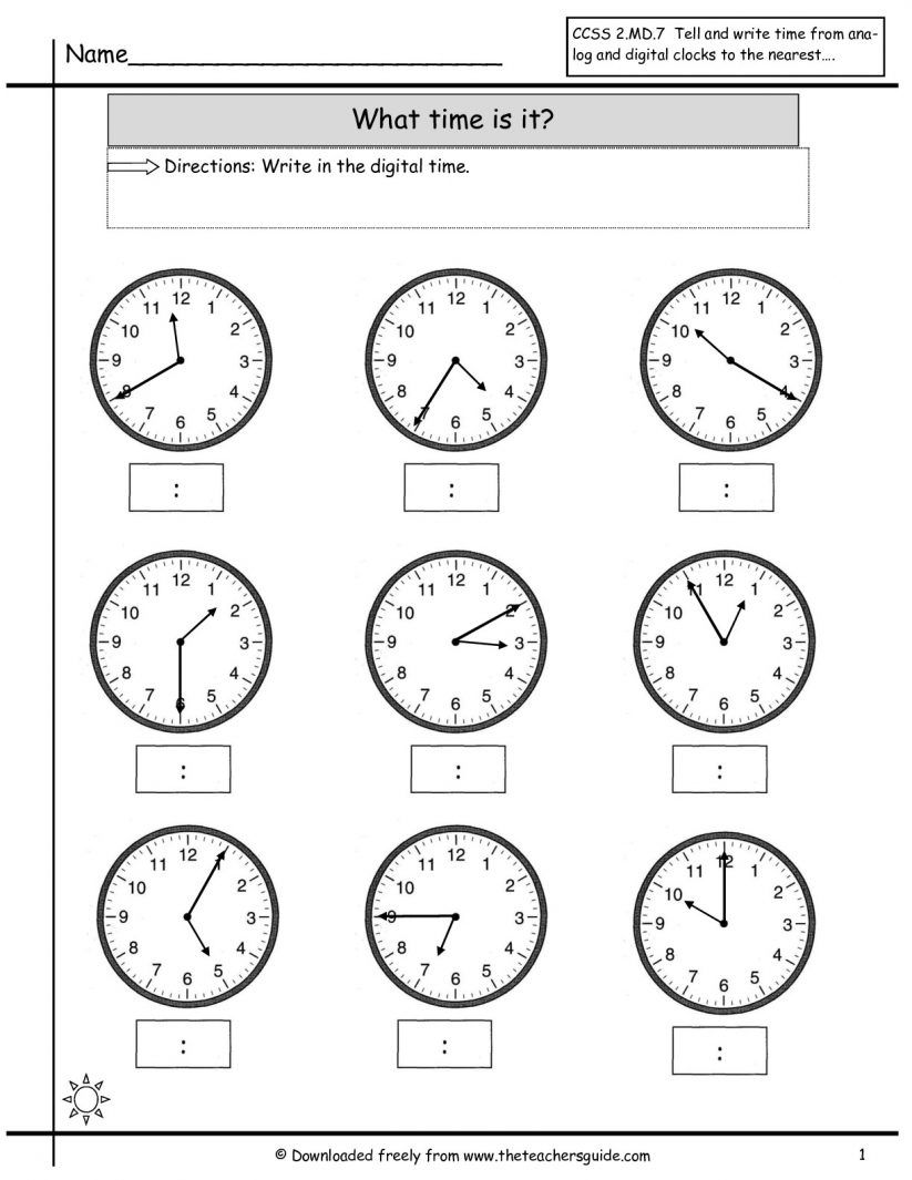 clock worksheet telling time to the hour
