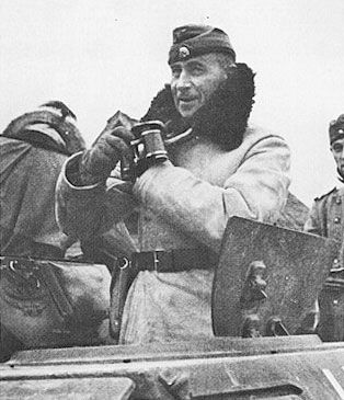"""SS Oberstgruppenfuhrer   Paul Hausser   (seen here as an Obergruppenfuhrer while commanding the Das Reich Division in Russia, winter 1941)   was unquestionably the ablest military commander in the Waffen SS.   After the war he sought to re-establish the reputation of the SS and claimed that the foreign units of the SS   were really the precursors of the NATO army. Hausser's skull and cross bones 'totenkopf' is on his hat.""  by A.J. Barker"