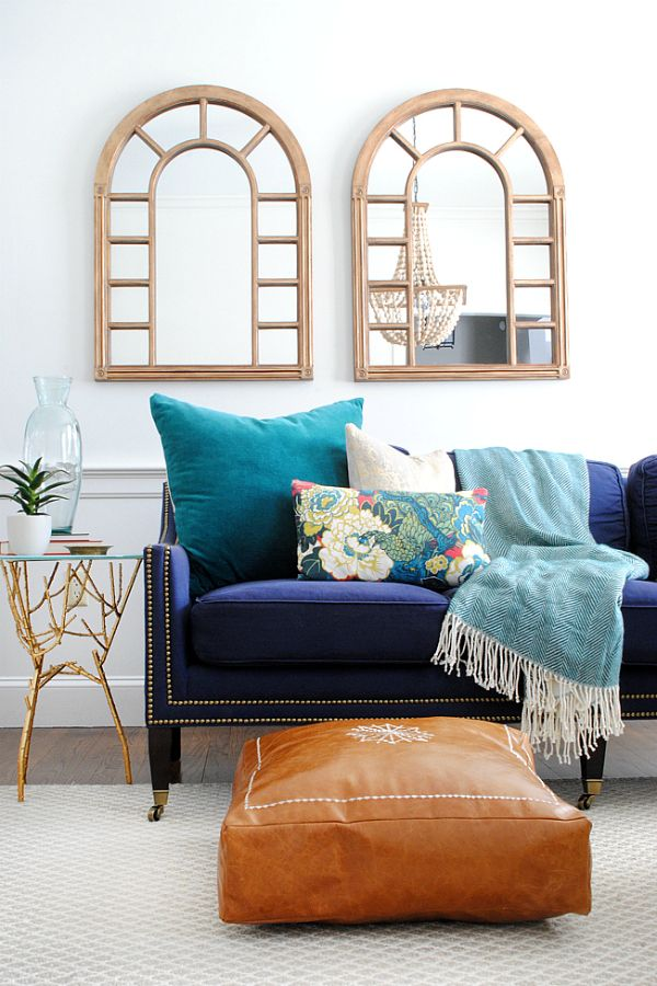 living room poufs%0A DIY Moroccan leather pouf or floor pillow