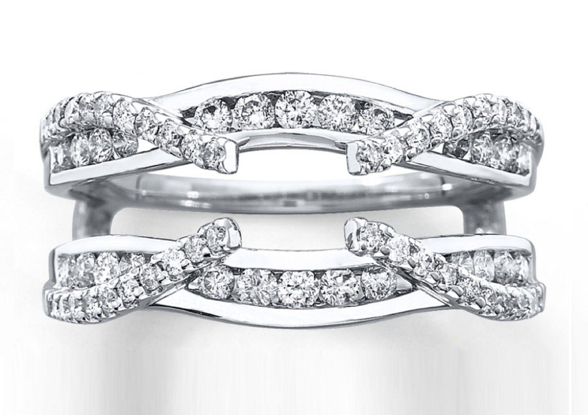 Round Diamond 14K White Gold Finish Solitaire Enhancer
