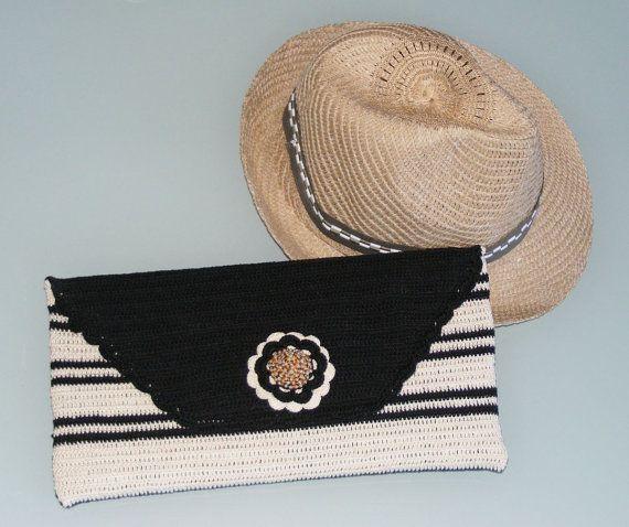Crochet clutch purse black creme purse handbag by raducristina