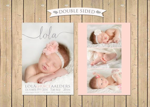 DOUBLE SIDED Name Birth ANNOUNCEMENT Baby Girl by babybaloo Baby – Baby Girl Announcements Pinterest